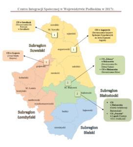 Centra Integracji Społecznej w Województwie Podlaskim w 2017r.