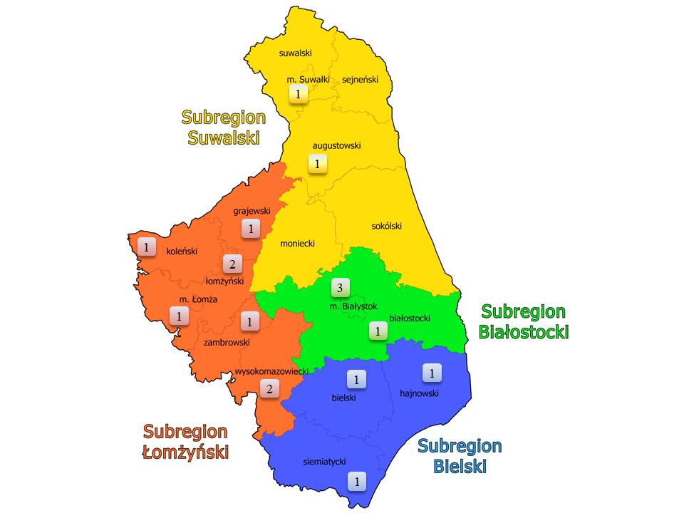 Mapa województwa podlaskiego ukazujące rozmieszczenie kluby integracji społecznej