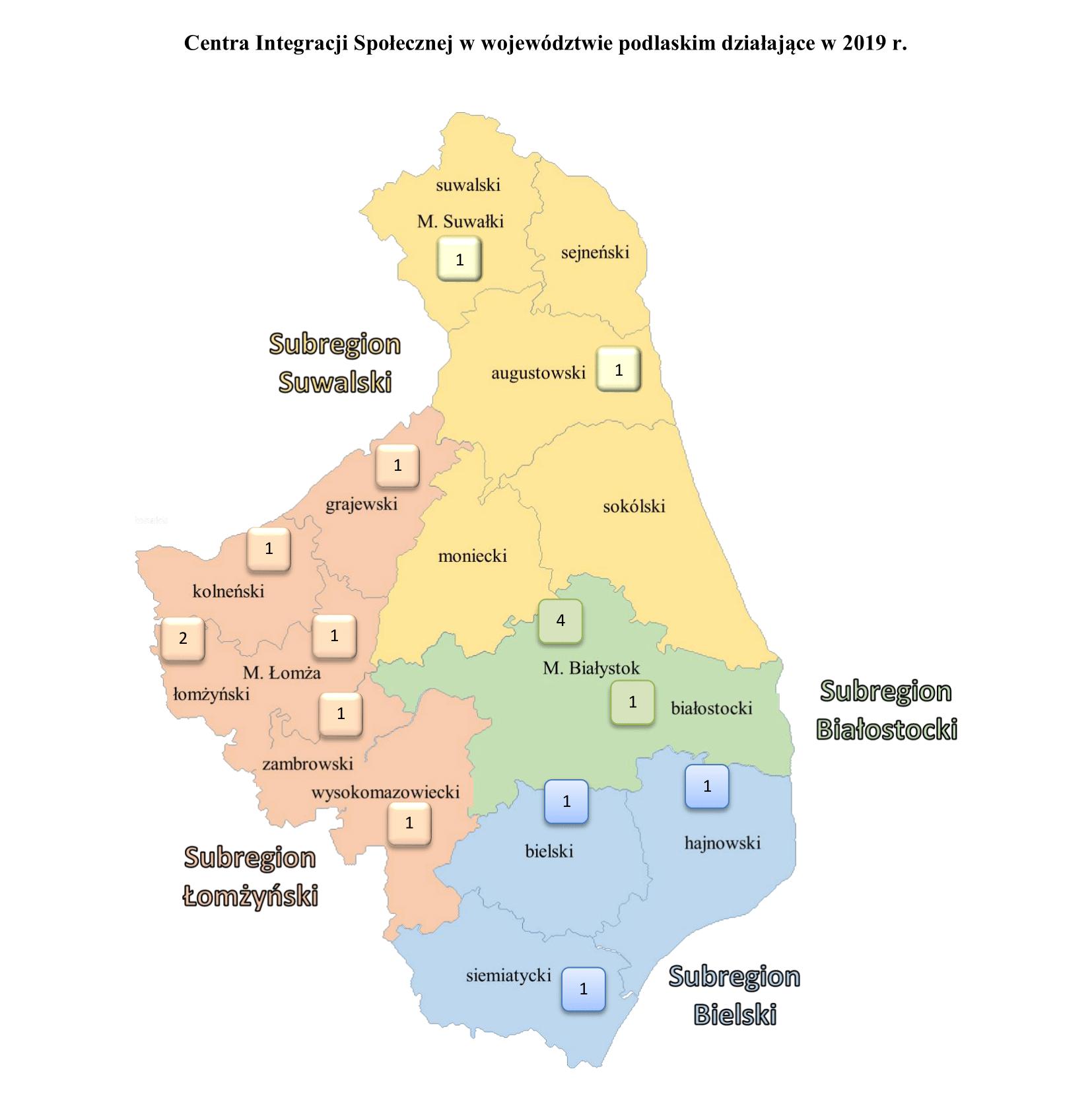 mapa podlasia subregiony ekonomii społecznej
