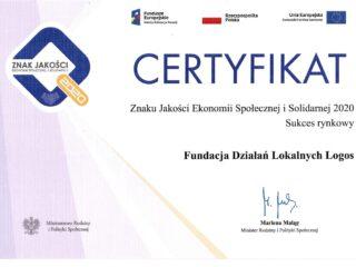 Certyfikat znaku jakości ekonomii społecznej i solidarnej 2020. Fundacja Działań Lokalnych Logos.