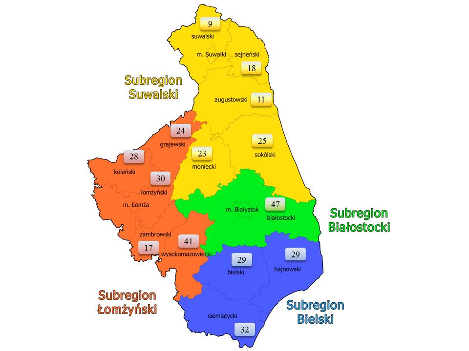 Mapa kół gospodyń wiejskich w województwie podlaskim