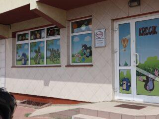 Zdjęcie wejścia do żłobka KRECIK zrobione z zewnątrz. Drzwi oraz okna są w całości oklejone grafikami z bajki.